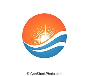 Beach Wave Logo Template