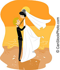 Beach Wedding - Illustration of a Newlywed Couple by the...
