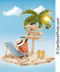 Beach with a palm tree, a direction sign and a beach chair. Summer vacation concept background. Vector