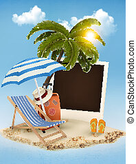 Beach with a palm tree, a photograph and a beach chair. Summer vacation concept background. Vector.