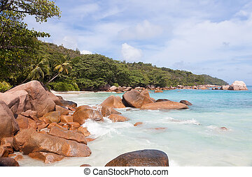 Beach with boulders on the Praslin island, Seychelles