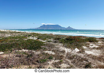 Beach with Cape Town Table Mountain