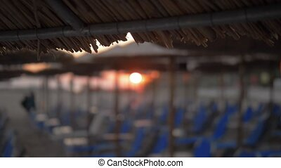 Beach with chaise longues and straw umbrellas at sunset -...