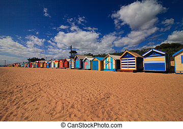Beach with Colourful Boat Houses