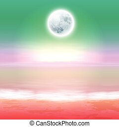 Beach with full moon at night. EPS10 vector.