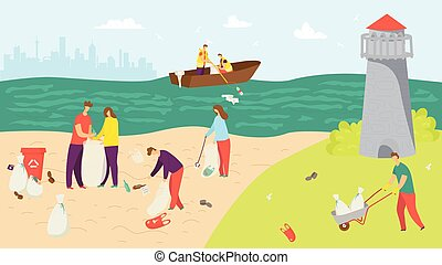 Beach with garbage, people clean environment vector illustration. Volunteer character pick up trash from nature ecology.