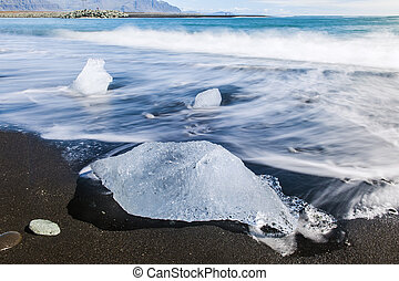 Beach with icebergs