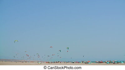 Beach with Kite Surfers on Slow Motion Video