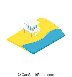 Beach with lifeguard tower icon in isometric 3d style ...