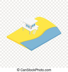 Beach with lifeguard tower isometric icon 3d on a ...