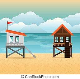 beach with lifeguard tower scene vector illustration design