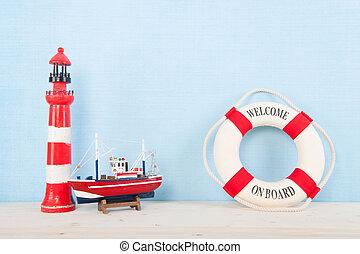 Beach with lighthouse