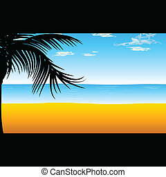 beach with palm for background illustration
