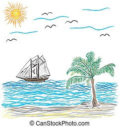 Beach with Palm Tree and ship, vect