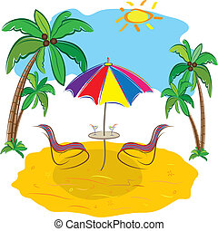 Beach with palm trees, chair,umbrella  and a cocktail.