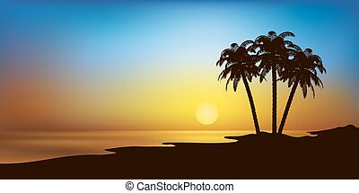 beach with palms and sunset vector landscape - vector...