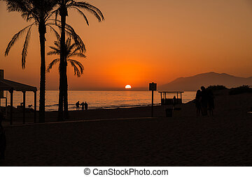 Beach with palmtrees with silhouette of people at sunset. ...