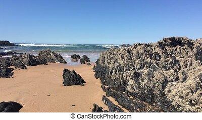 Beach with rocks in Almograve Alentejo Portugal.