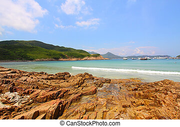 Beach with rocky shore in Hong Kong