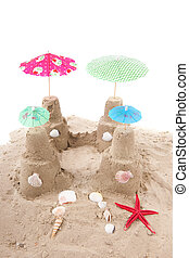 Beach with sand and toys