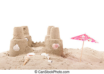 Beach with sandcastle