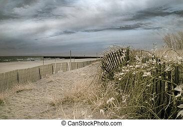 Beach with Stormy Skies - Beach with stormy skies. Infrared.