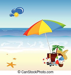 beach with stuff art vector illustration on a color