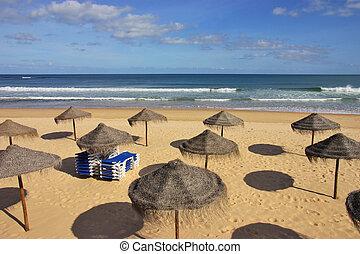 Beach with Sunshades