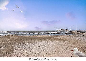 beach with trebuchet in the distance Comacchio Ferrara