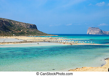 A beach with clear turquoise water on Crete island, Greece
