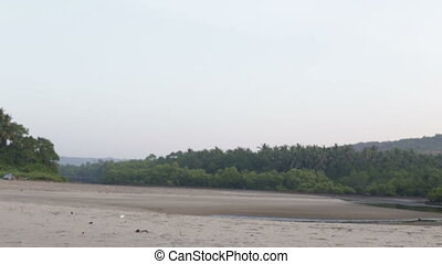 beach with water in the hills and jungles