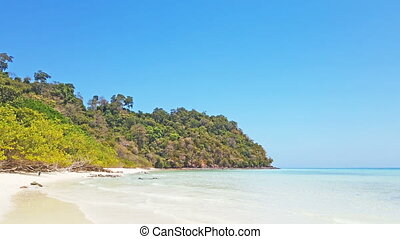 Beach with white sand on tropical island - Beach with white...