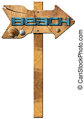 Beach - Wooden Directional Sign - Wooden directional sign...