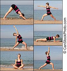 Beach yoga - Woman doing yoga exercise on the beach