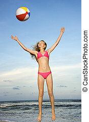 beachball., 女の子, 遊び