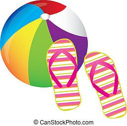 beachball and flip flops over white background. vector