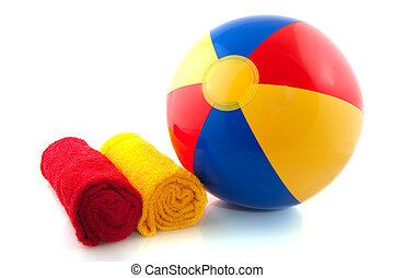 Beachball and rolled towels - beachball and rolled towels...