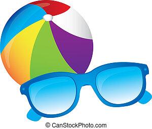 Beachball, sunglasses vector - beachball, sunglasses, vector...