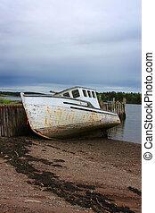 Beached boat in New Brunswick, Canada