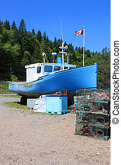 Beached boat in St. Martins, New Brunswick
