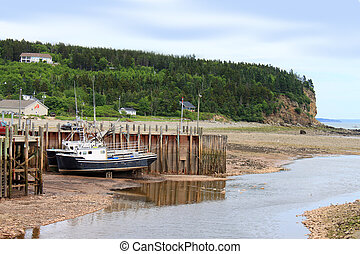 Beached boats in Alma, New Brunswick