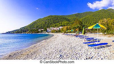 Relaxing beach scenery - Skopelos island, Neo Klima. Greece, Sporades