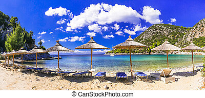 Best beaches of Skopelos island - natural Limnonari with amazing bay. Sporades islands of Greece