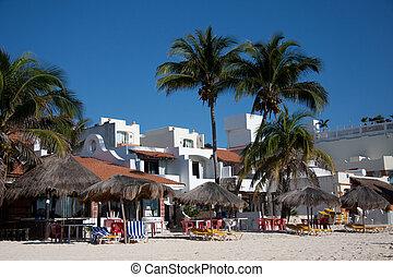 beachfront, carmen, méxico, recursos, del, playa