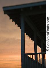 beachfront, coucher soleil, silhouetted, porche