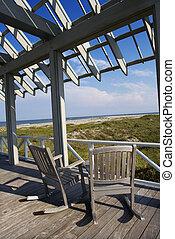 Beachfront deck with trelliswork on Bald Head Island, North Carolina.