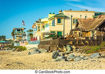 Beachfront homes in Imperial Beach, California.
