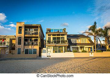 Beachfront homes in Newport Beach, California.