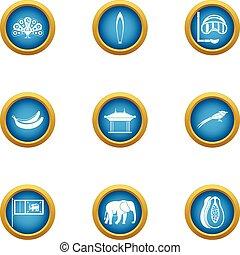 Beachfront icons set, flat style