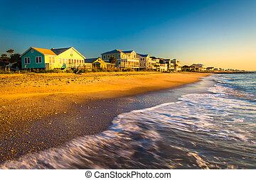 beachfront, luz, oceânicos, atlântico, ondas, lar, manhã